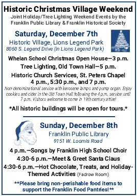Historic Christmas Village Weekend-City of Franklin, Wisconsin